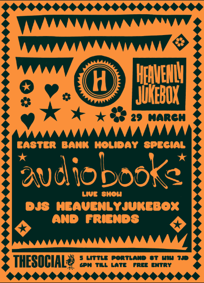 Very happy to announce that the full Heavenly Jukebox crew and friendswill be out on GoodThursday for a big bank holiday blowout. And we're even happier toofficially announce a new addition to the Heavenly Recordings family . .