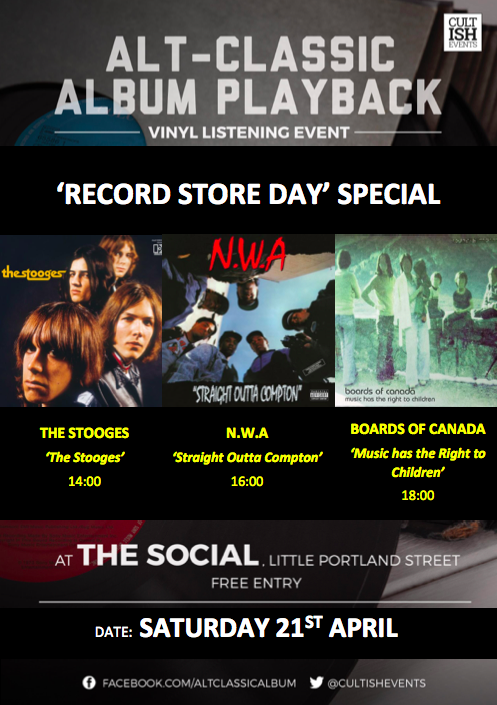 "Spent way too much £££ on that Cure remix album or Floyd mono re-release? Couldn't get your hands on that green Shaggy 7""? Console yourself with an amazing triple-header of albums played all the way through at The Social - for free!"